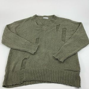 Zara knit sweater ripped v neck pullover